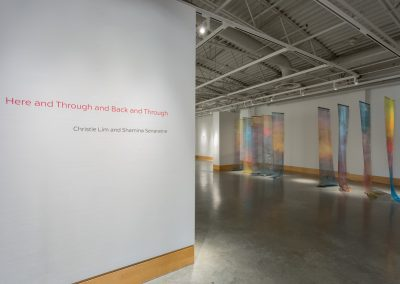 Installation view of Christie Lim and Shamina Senaratne: Here and Through and Back and Through, exhibition at the Art Gallery at Evergreen, 2015. Photography: Blaine Campbell.